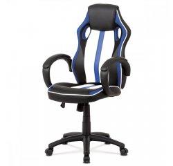 kancelárska stolička,modrá-čierna ekokoža+MESH, hojdací mech, kríž plast čierny + internetová televízia SledovanieTV na dva mesiace v hodnote 11,98 €
