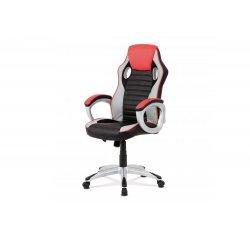 AUTRONIC KA-V507 RED kancelárska stolička, červená-čierna ekokoža, hojdací mech, kríž plast strieborný