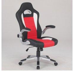 AUTRONIC KA-Y240 RED Športové herné kreslo, poťah čierna, biela, červená ekokoža, odklápacie podrúčky, strieborný plastový kríž, hojdací mech