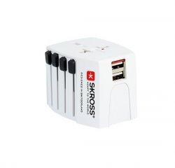SKROSS cestovný adaptér MUV USB, 2.5A max., vr. USB nabíjania 2x výstup 2400mA, univerzálny pre 150 krajín
