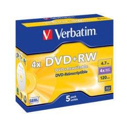 VERBATIM DVD+RW (4x, 4,7GB),5ks/pack
