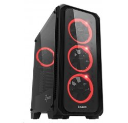 case Zalman miditower Z7 NEO, miniITX/microATX/ATX, panely z tvrzeného skla, 4x 120mm RGB ventilátory, bez zdroje, černá