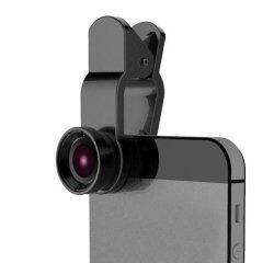 Šošovka (objektív) na mobil, s klipom, plast/hliník, čierna, 3v1