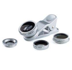 Šošovka (objektív) na mobil, s klipom, plast/hliník, strieborná, 3v1