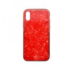 Sklenené puzdro Marble Glass iPhone XS červené