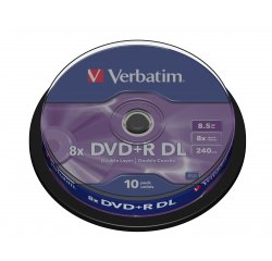 VERBATIM DVD+R 8.5GB 8X DOUBLE LAYER 10CAKE