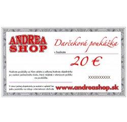 NOVA ESHOP Poukazka ANDREASHOP (platnost 6 mesiacov) 20,- Euro