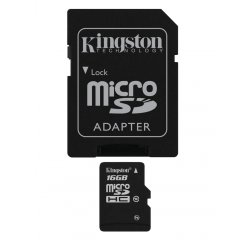 KINGSTON MICRO SDHC 16GB CLASS 10+ADAPTER, SDC10G2/16GB