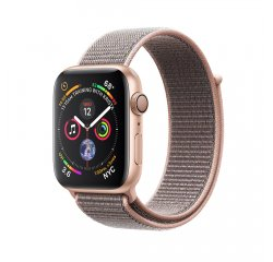 APPLE WATCH SERIES 4 GPS, 44MM GOLD ALUMINUM CASE WITH PINK SAND SPORT LOOP, MU6G2VR/A vystavený kus