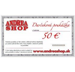 NOVA ESHOP Poukazka ANDREASHOP (platnost 6 mesiacov) 50,- Euro + internetová televízia SledovanieTV na dva mesiace v hodnote 11,98 €