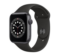 APPLE WATCH SERIES 6 GPS, 44MM SPACE GRAY ALUMINIUM CASE WITH BLACK SPORT BAND M00H3HC/A