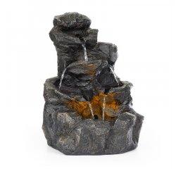 BLUMFELDT ROCKY WATERS, ZAHRADNA FONTANA, 2,5 W, LED OSVETLENIE, POLYRESIN, ANTRACITOVA, 10033531
