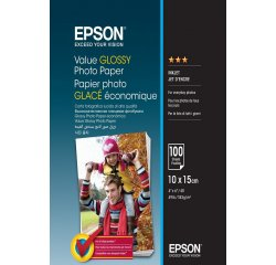 EPSON VALUE GLOSSY PHOTO PAPER 10X15CM 100 LISTOV, C13S400039