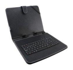 ESPERANZA EK123 MADERA KLAVESNICA + PUZDRO PRE TABLET 7'', USB, EKO KOZA, CIERNE