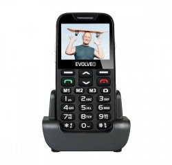 EVOLVEO EASYPHONE XD, MOBILNY TELEFON PRE SENIORY S NABIJACIM STOJANOM CIERNA EP-600-XDB