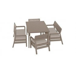 ALLIBERT /233329/ DELANO SET WITH LIMA TABLE 160 CAPPUCCINO SAND