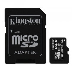 KINGSTON 16GB MICROSDHC UHS-I INDUSTRIAL TEMP + SD ADAPTER SDCIT/16GB