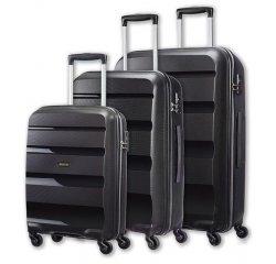 SAMSONITE AMERICAN TOURISTER SPINNER 85A09004 BONAIR SET S,M,L 4WHEELS LUGGAGE, BLACK