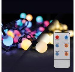 SOLIGHT 1V09-RGB LED 2V1 VON. VIAN. RETAZ, GULE, DIAL. OVL., 200LED, RGB/BIELA, 20M+5M, 8 FUNK.,IP44