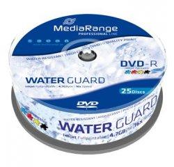 MEDIARANGE DVD-R 4,7GB 16x Waterguard Photo Inkjet Fullprintable spindl 25pck/bal