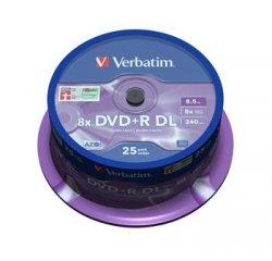 VERBATIM DVD+R 8,5 GB 8x DoubleLayer MATT SILVER spindl 25pck/BALL