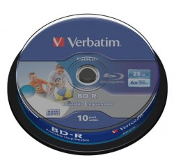 VERBATIM BD-R 25GB 6x HTL WIDE PRINTABLE spindle 10pck/BAL