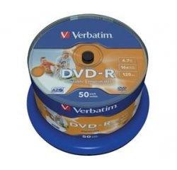 VERBATIM DVD-R(50-Pack)Spindle/Inkjet Printable/16x/4.7GB