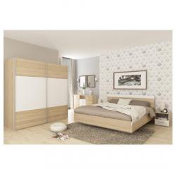 Spálňový komplet (skriňa+posteľ 160x200x, 2 x nočný stolík), dub sonoma/biela, GABRIELA