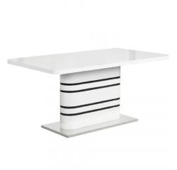 b02efa0574d25 TEMPO KONDELA Jedálenský rozkladací stôl, biela vysoký lesk HG/čierne pásy,  TUBAL