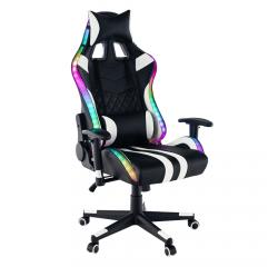 TEMPO KONDELA Kancelárske/herné kreslo s RGB podsvietením, čierna/biela/farebný vzor, ZOPA